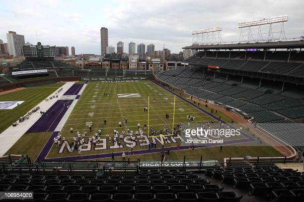 General view as the Northwestern Wildcats practice for a game against the Illinois Fighting Illini on Saturday November 20 at Wrigley Field on...