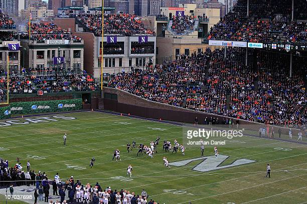 General view as the Northwestern Wildcats take on the Illinois Fighting Illini during a game played at Wrigley Field on November 20, 2010 in Chicago,...