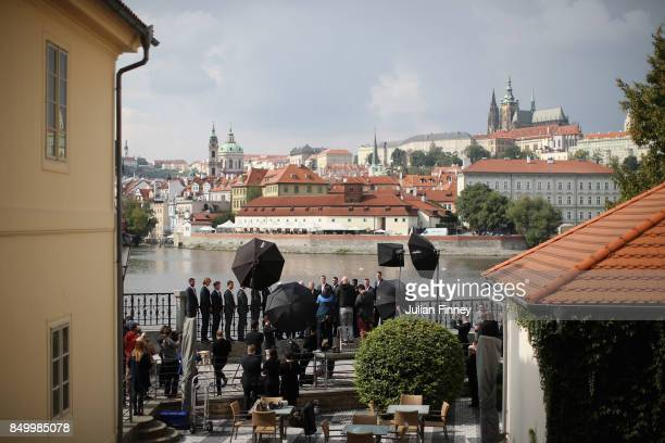 A general view as the official team group photographs are taken ahead of the Laver Cup on September 20 2017 in Prague Czech Republic The Laver Cup...