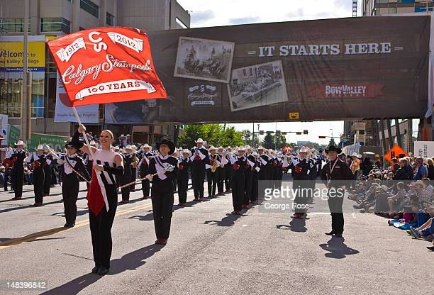A general view as the parade gets underway on July 6 2012 in Calgary Canada Calgary Stampede the world's largest outdoor event featuring a world...