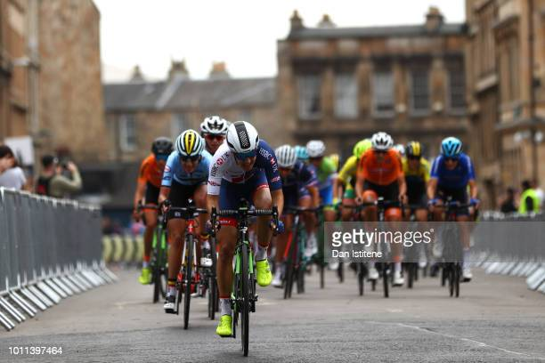 General view as the peloton passes in the Women's Road Race during the Road Cycling on Day Four of the European Championships Glasgow 2018 at on...