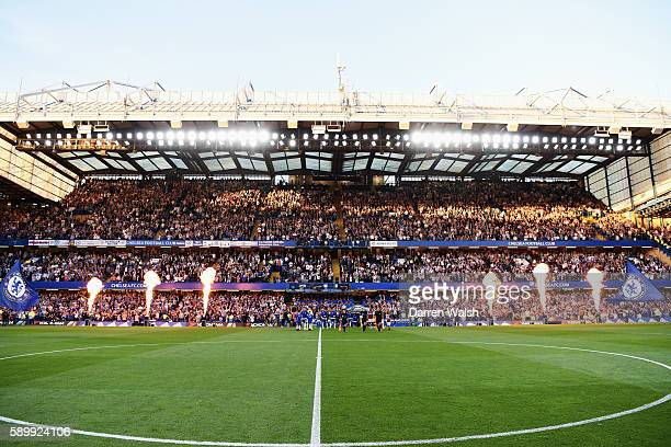 A general view as the players enter the pitch prior to the Premier League match between Chelsea and West Ham United at Stamford Bridge on August 15...