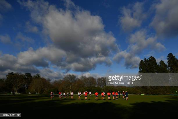 General view as the players gather during a training session at Pennyhill Park on March 16, 2021 in Bagshot, England.