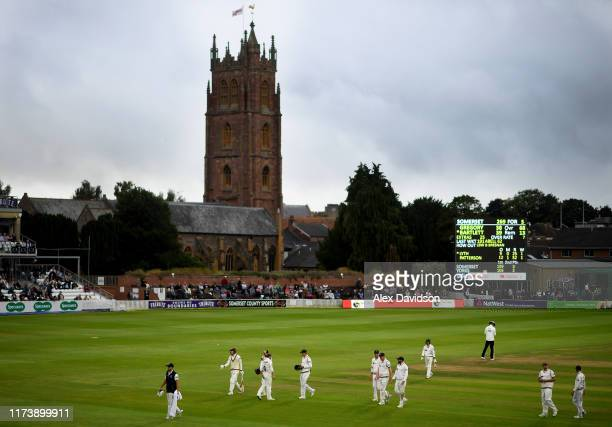 General view as the players go off for bad light during Day Two of the Specsavers County Championship match between Somerset and Yorkshire at The...