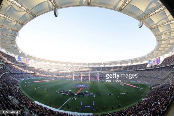 A general view as the players line up during the 2019 ALeague Grand Final match between the Perth Glory and Sydney FC at Optus Stadium on May 19 2019...