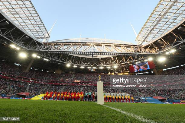 General View as the players line up for the anthems prior to the FIFA Confederations Cup Russia 2017 Final match between Chile and Germany at Saint...