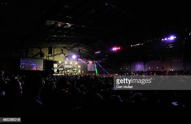 A general view as the players make their way to the stage during The Betway Premier League Darts at Westpoint Arena on March 5 2015 in Exeter England