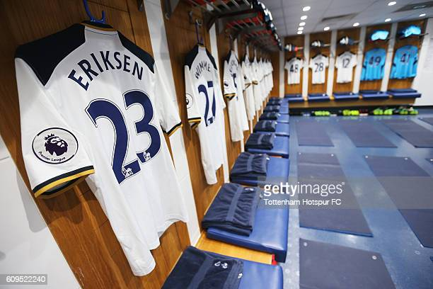 A general view as the players shirts hang inside the Tottenham Hotspur dressing room prior to the EFL Cup Third Round match between Tottenham Hotspur...