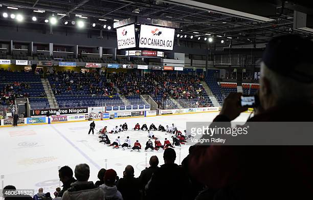 A general view as the players stretch during the Canada National Junior Team practice at the Meridian Centre on December 18 2014 in St Catharines...