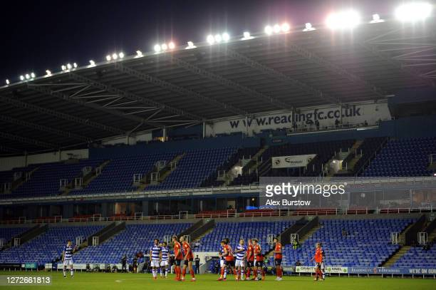 General view as the players wait for a free kick during Carabao Cup Second Round match between Reading FC and Luton Town at Madejski Stadium on...