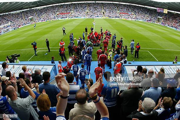 General view as the players walk onto the ground during the Barclays Premiership match between Reading and Middlesbrough at the Madejski Stadium on...