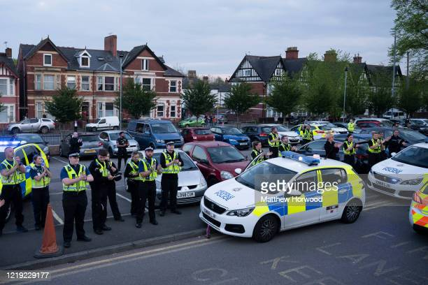 A general view as the police force claps NHS workers clap at the Royal Gwent Hospital on April 16 2020 in Newport United Kingdom Following the...