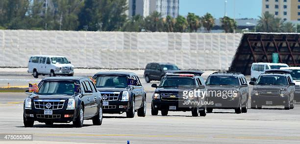 General view as the presidential limo arrive at AF1 as US President Barack Obama leaves Miami at Miami International Airport on May 28 2015 in Miami...