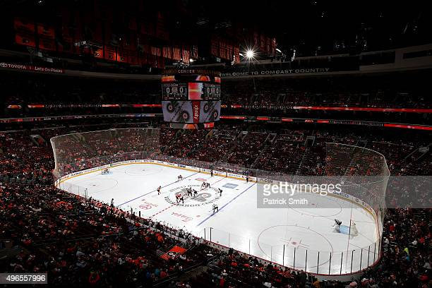 A general view as the puck is dropped and the Colorado Avalanche play the Philadelphia Flyers in the first period at Wells Fargo Center on November...