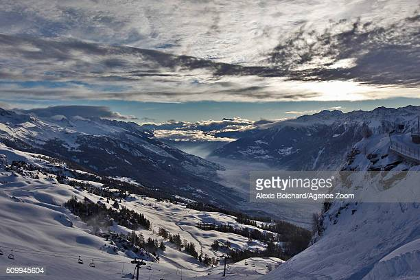 General view as the race is cancelled during the Audi FIS Alpine Ski World Cup Women's Downhill on February 13, 2016 in Crans Montana, Switzerland.