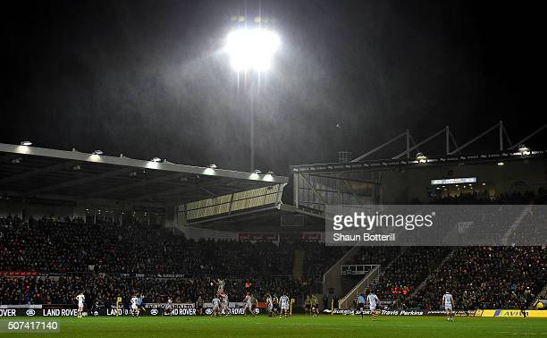 A general view as the rain falls during the Aviva Premiership match between Northampton Saints and Wasps at Franklin's Gardens on January 29 2016 in...