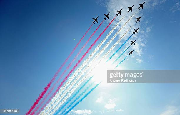 A general view as the Red Arrows salute the field during the first round of the DP World Tour Championship Dubai on the Earth Course at Jumeirah Golf...