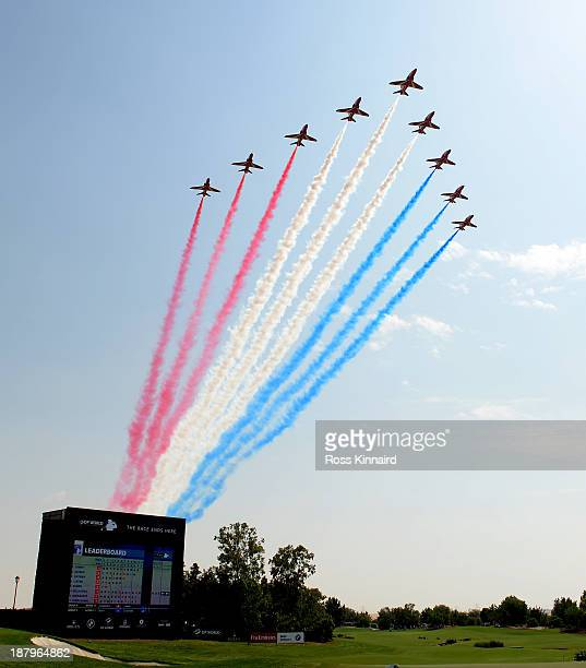 A general view as the Red Arrows salute the field during the first round of the DP World Tour Championship on the Earth Course at the Jumeirah Golf...