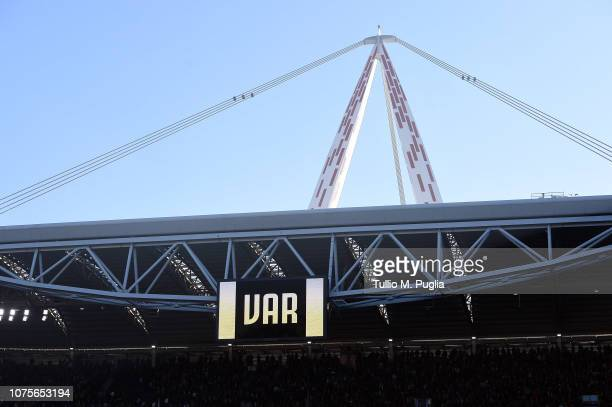 A general view as the referee Paolo Valeri is consulting the VAR during the Serie A match between Juventus and UC Sampdoria on December 29 2018 in...