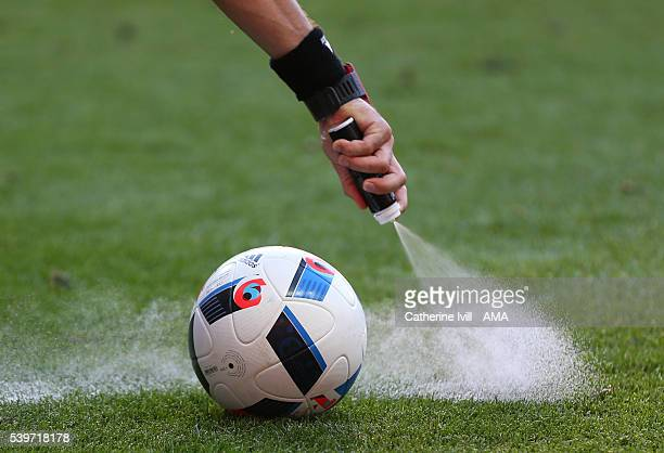 General view as the referee uses vanishing spray around the ball during the UEFA EURO 2016 Group C match between Poland and Northern Ireland at...