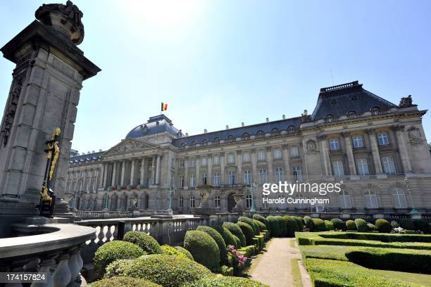General view as the royal family greets the audience at the Royal Palace during the Abdication Of King Albert II Of Belgium, & Inauguration Of King...