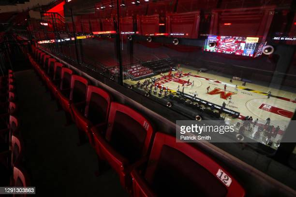 General view as the Rutgers Scarlet Knights play the Maryland Terrapins during the second half at Xfinity Center on December 14, 2020 in College...