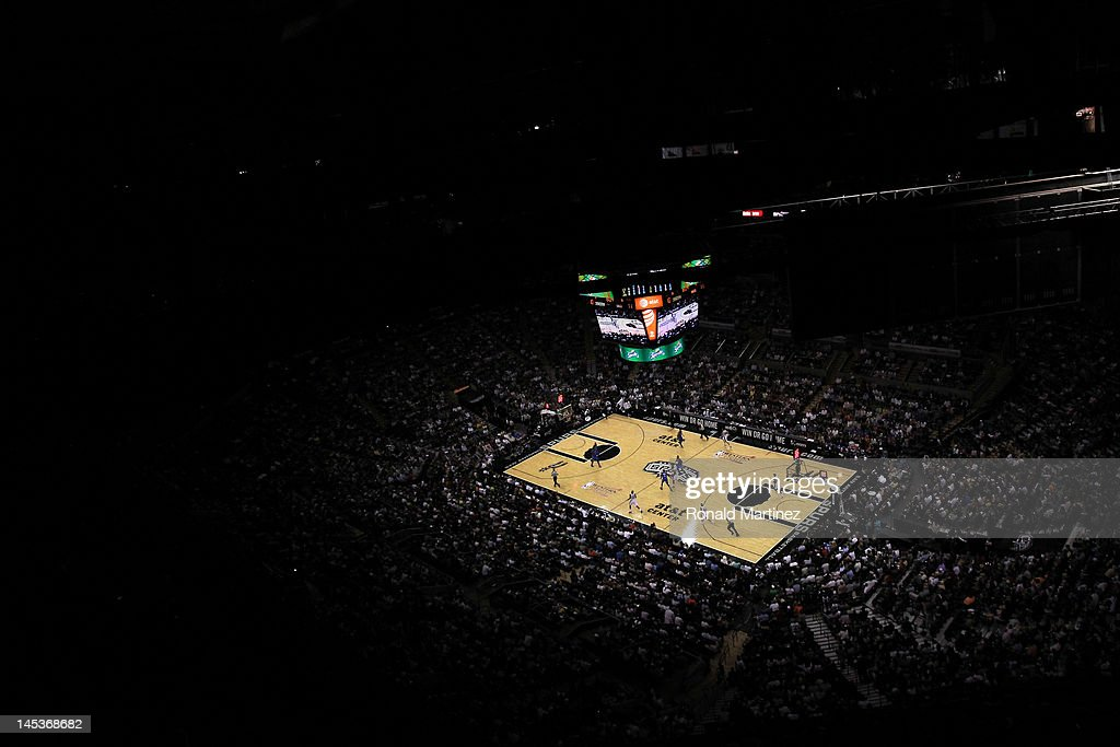 A general view as the San Antonio Spurs take on the Oklahoma City Thunder in Game One of the Western Conference Finals of the 2012 NBA Playoffs at AT&T Center on May 27, 2012 in San Antonio, Texas.