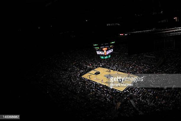 A general view as the San Antonio Spurs take on the Oklahoma City Thunder in Game One of the Western Conference Finals of the 2012 NBA Playoffs at...