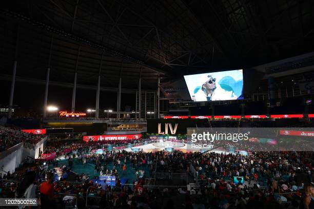A general view as the San Francisco 49ers speak to the media during Super Bowl Opening Night presented by BOLT24 at Marlins Park on January 27 2020...