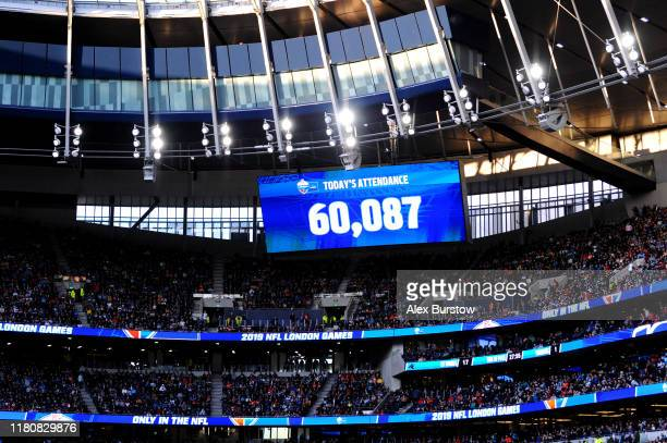 General view as the scoreboard inside the stadium displays the attendance figure during the NFL match between the Carolina Panthers and Tampa Bay...