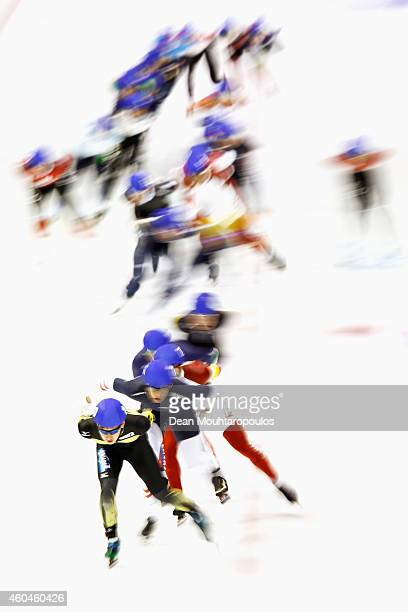 A general view as the skaters with Ryosuke Tsuchiya of Japan leading in the Mass Start Mens race on day three of the ISU World Cup Speed Skating held...