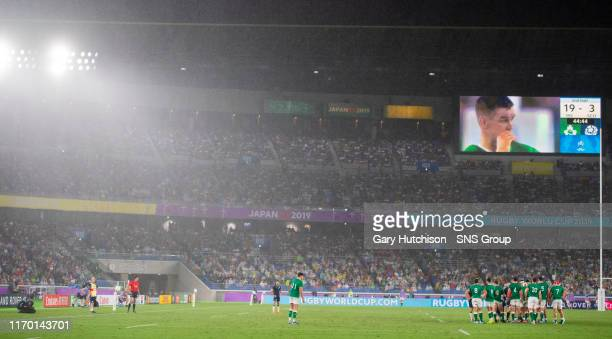 General view as the skies open during the Rugby World Cup 2019 Pool A game between Ireland and Scotland, at the Yokohama Stadium, on September 22 in...