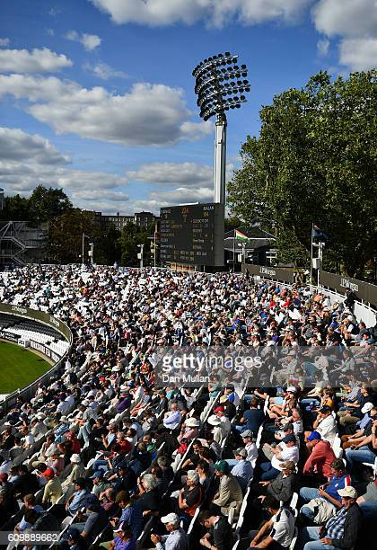 A general view as the spectators watch from the grandstand during day four of the Specsavers County Championship match between Middlesex and...