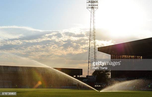 General view as the sprinklers come on during the Pre Season Friendly match between Swindon Town and Reading at the County Ground on July 19 2016 in...