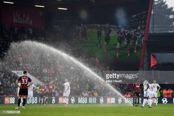 General view as the sprinklers turn on while play is still going during the Premier League match between AFC Bournemouth and Wolverhampton Wanderers...