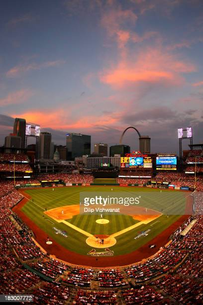 A general view as the St Louis Cardinals take on the Pittsburgh Pirates in Game One of the National League Division Series at Busch Stadium on...