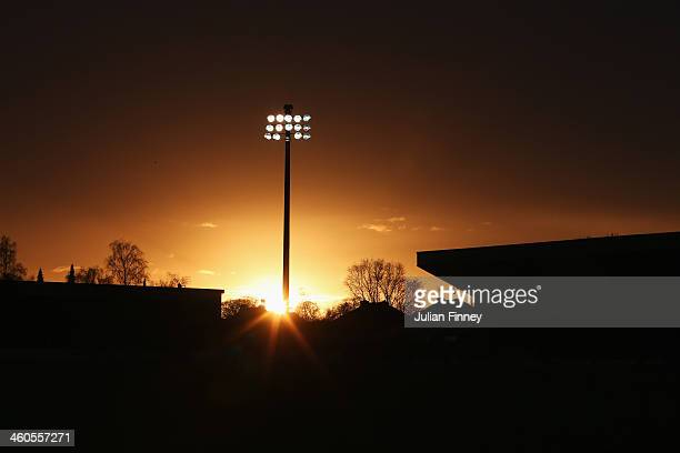 General view as the sun goes down during the Budweiser FA Cup third round match between Kidderminster Harriers and Peterborough United at Aggborough...