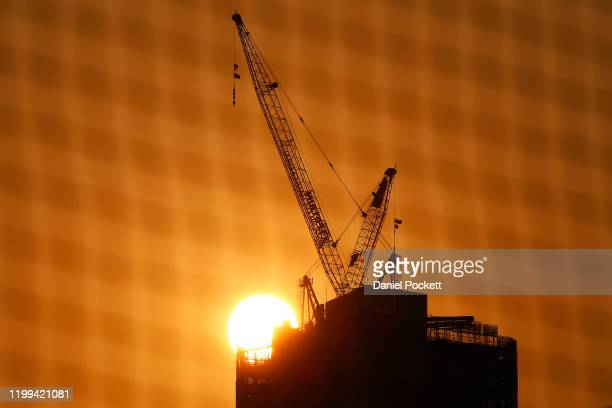 A general view as the sun sets behind the Australia 108 building in Southbank during 2020 Australian Open Qualifying at Melbourne Park on January 14...