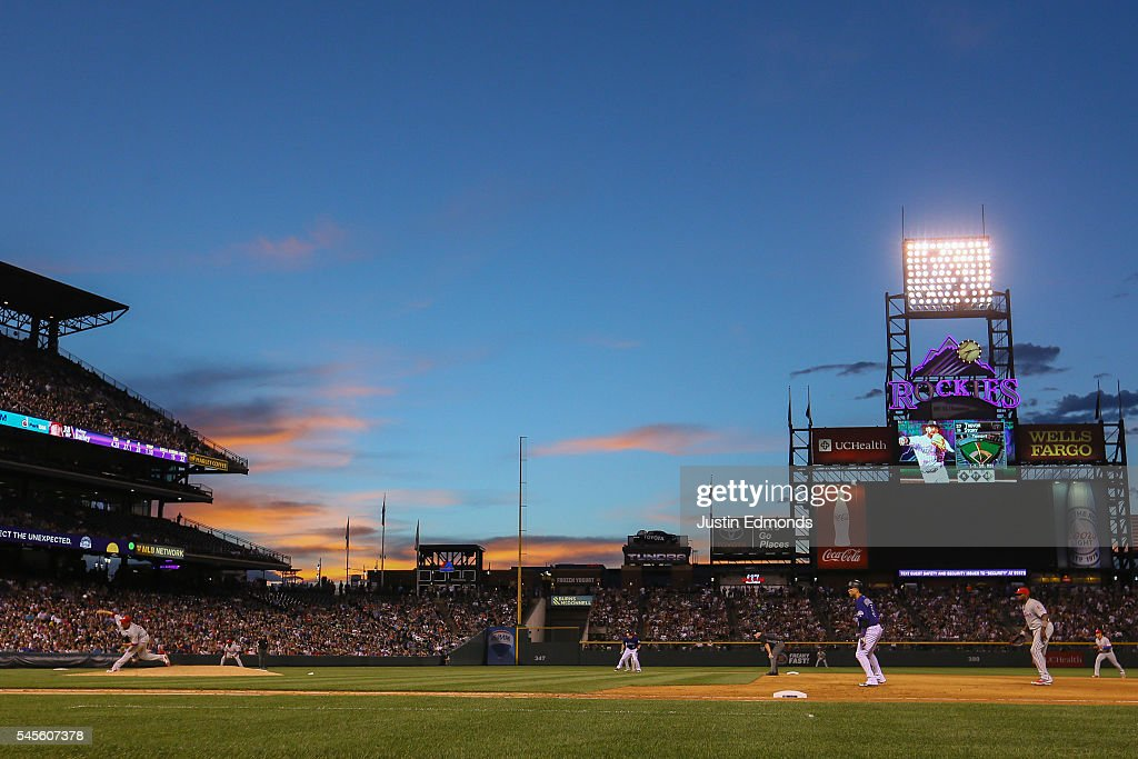 A general view as the sun sets during a game between the Philadelphia Phillies and Colorado Rockies at Coors Field on July 8, 2016 in Denver, Colorado. The Phillies defeated the Rockies 5-3.