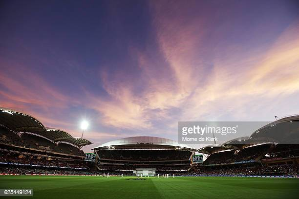 A general view as the sun sets during day one of the Third Test match between Australia and South Africa at Adelaide Oval on November 24 2016 in...