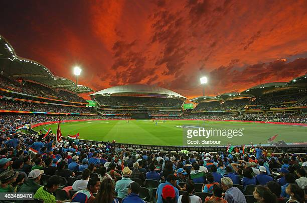 A general view as the sun sets during the 2015 ICC Cricket World Cup match between India and Pakistan at Adelaide Oval on February 15 2015 in...