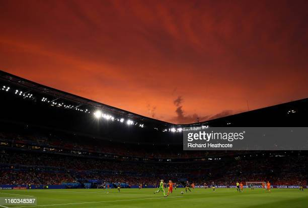 A general view as the sun sets during the 2019 FIFA Women's World Cup France Semi Final match between Netherlands and Sweden at Stade de Lyon on July...