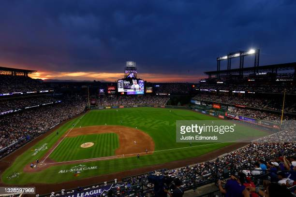 General view as the sun sets during the 91st MLB All-Star Game at Coors Field on July 13, 2021 in Denver, Colorado.