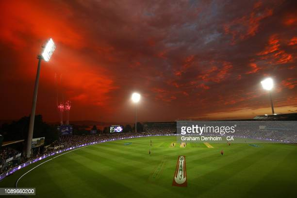 General view as the sun sets during the Big Bash League match between the Hobart Hurricanes and the Sydney Sixers at Blundstone Arena on January 04,...