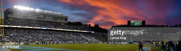 A general view as the sun sets during the game between the Western Carolina Catamounts and the North Carolina Tar Heels at Kenan Stadium on November...