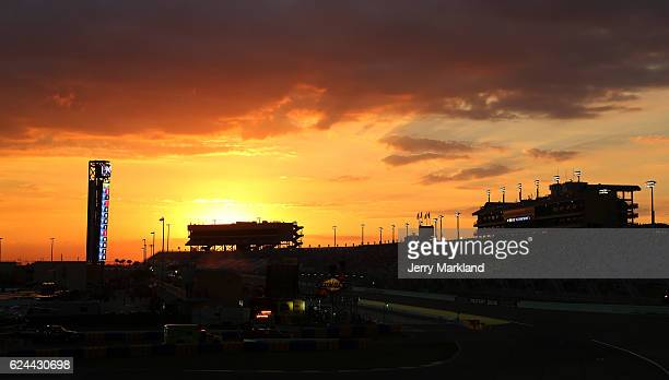 A general view as the sun sets during the NASCAR XFINITY Series Ford EcoBoost 300 at HomesteadMiami Speedway on November 19 2016 in Homestead Florida