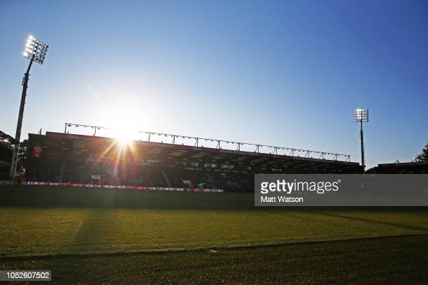 general view as the sun sets during the Premier League match between AFC Bournemouth and Southampton FC at Vitality Stadium on October 20 2018 in...
