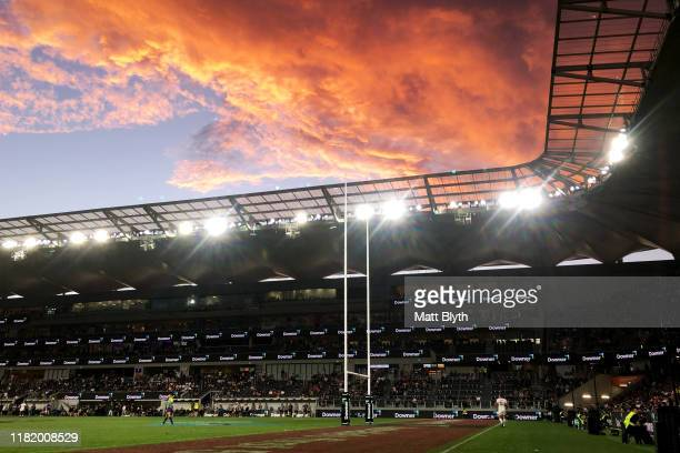 General view as the sun sets during the Semi Final Rugby League World Cup 9s match between New Zealand and England at Bankwest Stadium on October 19,...