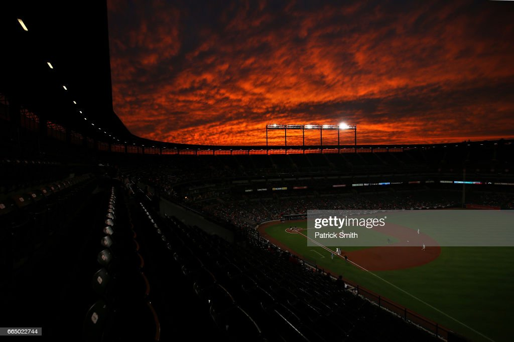 A general view as the sun sets during the third inning as the Toronto Blue Jays play the Baltimore Orioles at Oriole Park at Camden Yards on April 5, 2017 in Baltimore, Maryland.