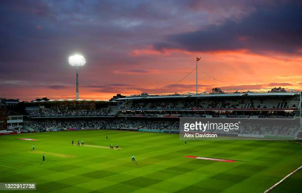 General view as the sun sets during the Vitality T20 Blast match between Middlesex and Surrey at Lord's Cricket Ground on June 10, 2021 in London,...